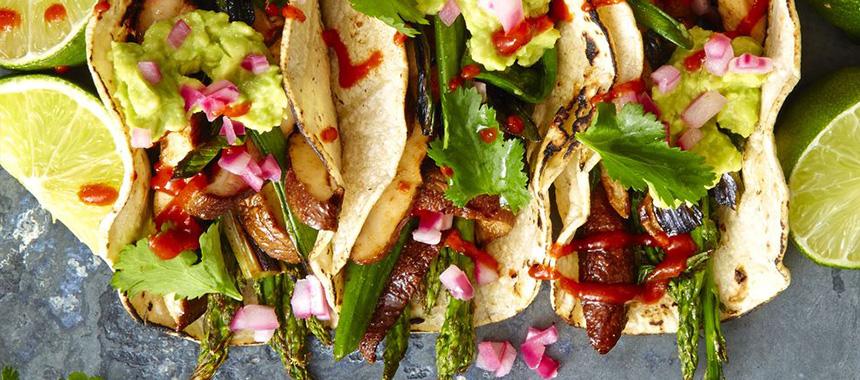 Tacos de Espárragos y Shitake